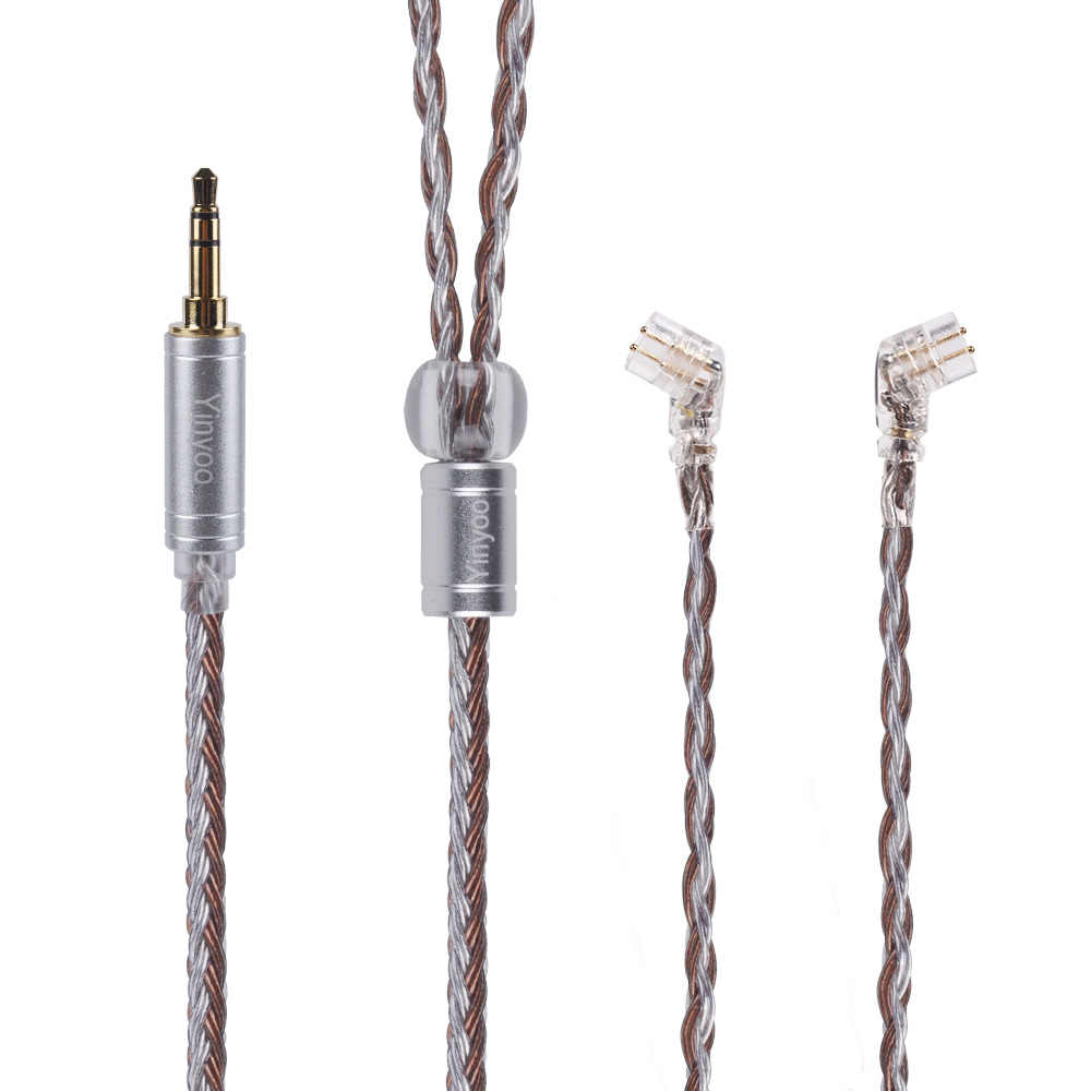 Yinyoo 16 الأساسية الفضة مطلي كابل 2.5/3.5/4.4 مللي متر كابل متوازن مع MMCX/2pin موصل ل KZ ZS10 برو ZSX AS10 V90 BA5