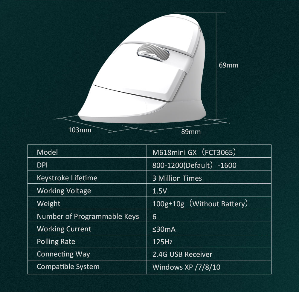 Delux Colorful M618 mini Wireless Vertical Mouse Bluetooth Dual-Mode Laptop
