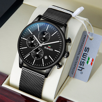 SWISH 2020 New Fashion Mens Watches with Stainless Steel Top Brand Luxury Sports Chronograph Quartz Watch Men Relogio Masculino