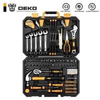 DEKO-conjunto de herramientas de reparación de automóviles, profesional, llave de carraca automática, destornillador, Kit de herramientas para mecánicos con caja de moldeado por soplado, 158 Uds.