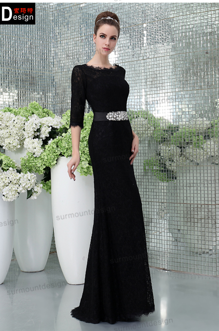 Free Shipping Cheap 2019 New Fashion Backless Design Crystal Sleeves Vestido De Festa Long Gown Lace Mother Of The Bride Dresses