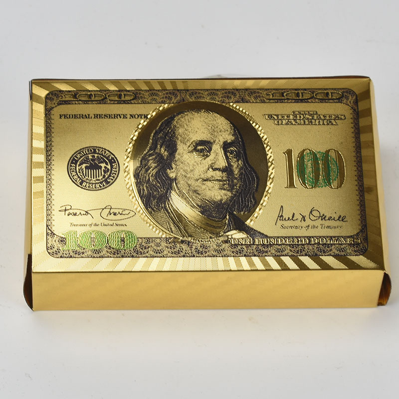 100 Dollars Waterproof 24k Gold Plated Poker Cards Playing Table Games Souvenirs Gifts