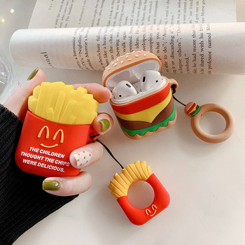 For Apple AirPods Air Pods i12 i13 TWS i30 i50 i60 Earphone Case Soft Silicone Cover as Hamburger French Fries Headphone Cases image