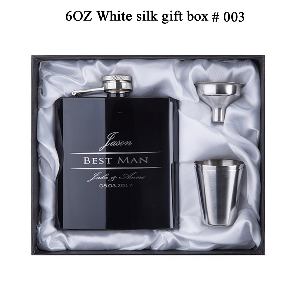 Personalized Best Man gift of 6oz black stainless steel hip flask Groom gift Best man gift Personalized Best Man gift  of 6oz  black stainless steel hip flask ,Groom gift, Best man gift with  Gift box packing