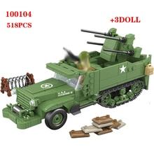 Blocos de construção 518pcs eua m16, meia pista, quadruplo, veículo de defesa aérea, blocos de construção, segunda guerra mundial, soldado, arma, tijolos brinquedos, brinquedos