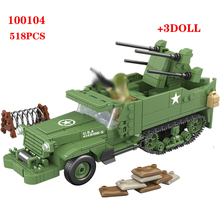 Yeni 518 adet abd M16 yarım parça dörtlü hava savunma araç yapı taşları WW2 askeri ordu asker silah parçaları tuğla oyuncaklar