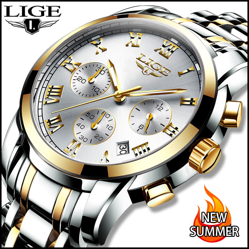 LIGE Men Watches Top Luxury Brand Full Steel Waterproof Sports Quartz Watch Men Fashion Date Clock Chronograph Relogio Masculino