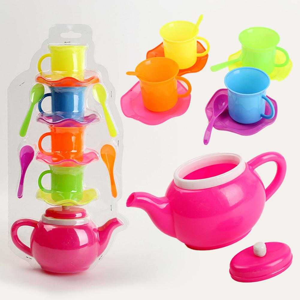 13Pcs Simulation Kids Tea Party Kettle Cup Saucer Spoon Afternoon Tea Suppies Pink Pretend Play Kitchen Toy For Girls