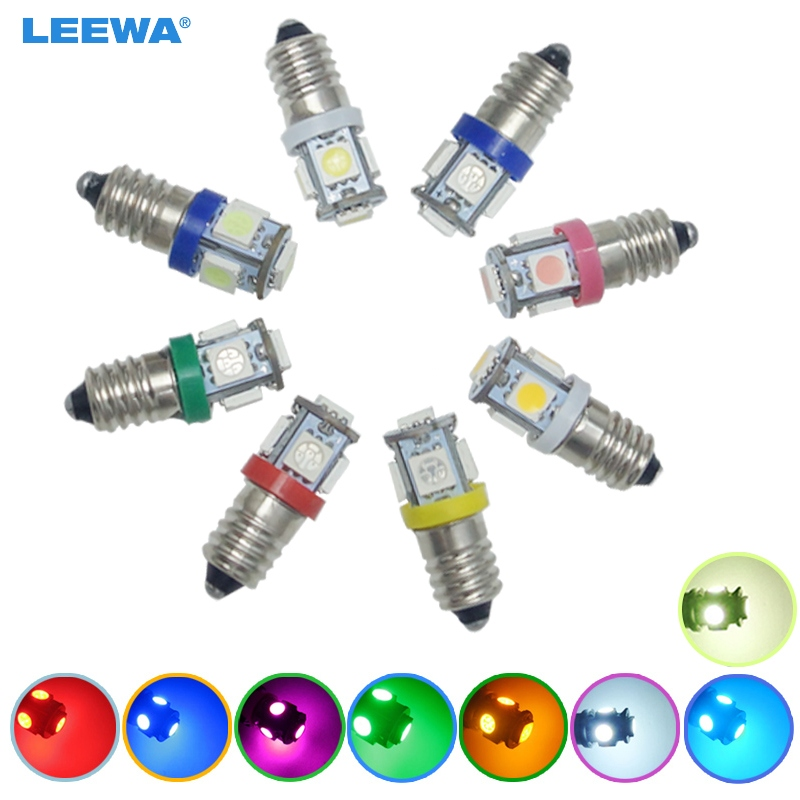 LEEWA 200pcs Car 6V/12V/24V 8-Color Auto E10 5050SMD 5-LED High Power Dashboard LED Light Bulb Car Light #CA6145 image
