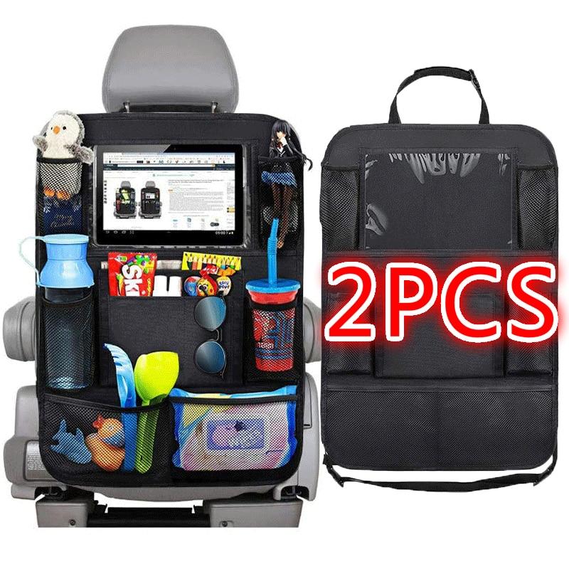 1 ud./2 uds. Organizador de asiento trasero para coche 9 bolsillos de almacenamiento con pantalla táctil tableta soporte Protector para Niños Accesorios de coche