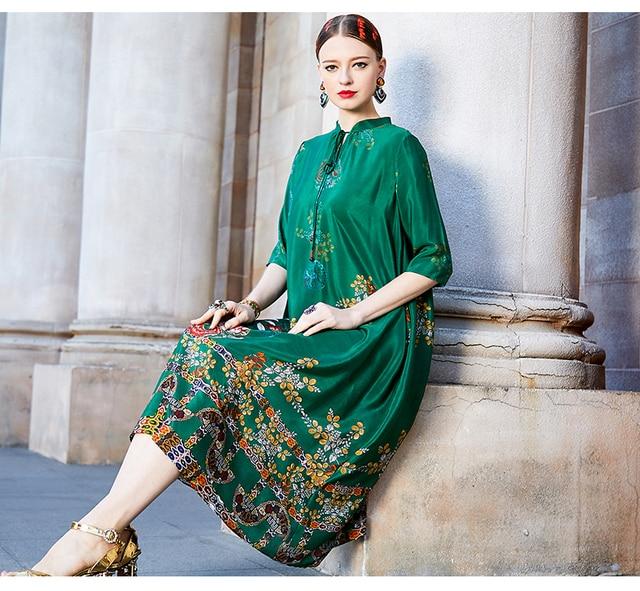 2021 New 3D Printed Round Neck Fashion Loose Large Hem Women's Dress Simple Korean Stitching Three-quarter Sleeve Women Clothes 5