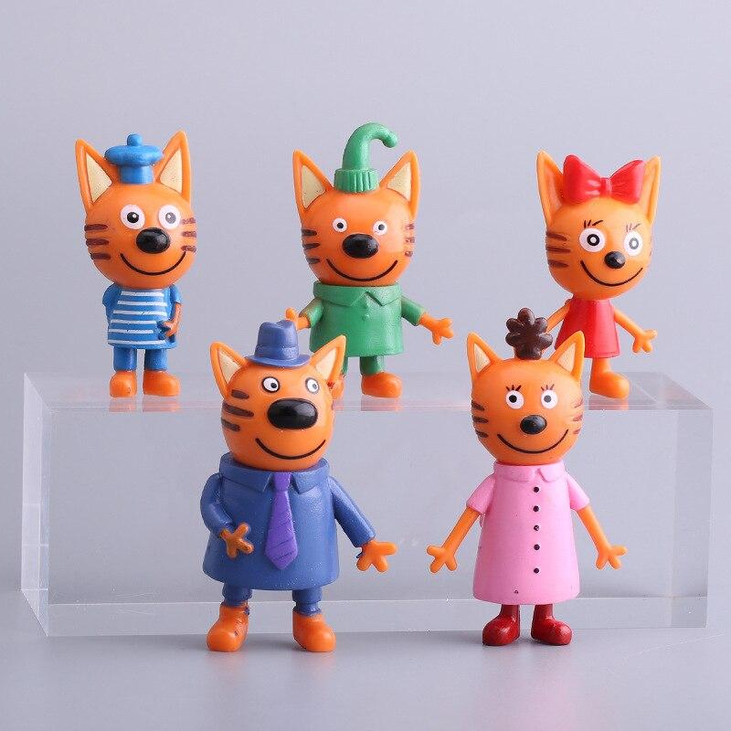 Новинка 2019, хит продаж, 5 шт., игрушка «Счастливый три котенка», русская фигурка, детская игрушка, кошка, модель, детская игрушка, Детский Рожд...
