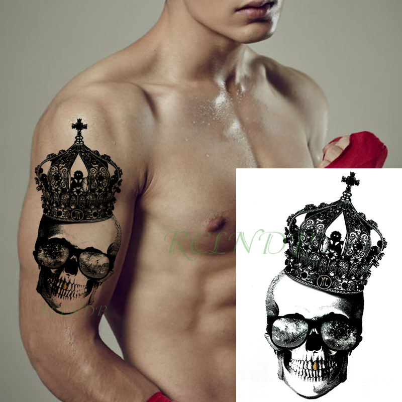 Waterproof Temporary Tattoo Sticker Skull Head Crown Cross Big Size Black Flash Tatoo Fake Body Art Tatto For Girl Men Women