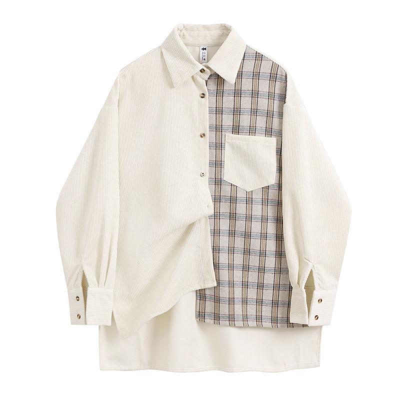 Женская рубашка на пуговицах Deeptown, винтажная блузка с принтом в клетку, Топ с длинным рукавом, Осень зима 2019|Блузки|   | АлиЭкспресс