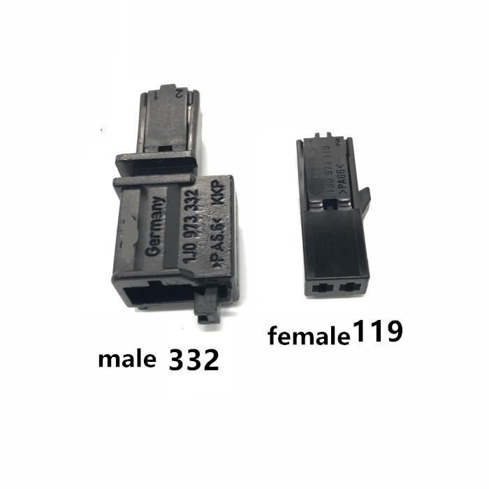 Microphone Makeup Mirror Switch Tweeter Seat Belt Lock Atmosphere Light 2P Plug 1J0 973 119/332 Male Female For VW AUDI