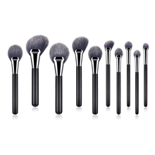 FLD 10PCS wooden handle professional makeup brush loose powder brush blush brush eye shadow brush nose shadow brush tool set new
