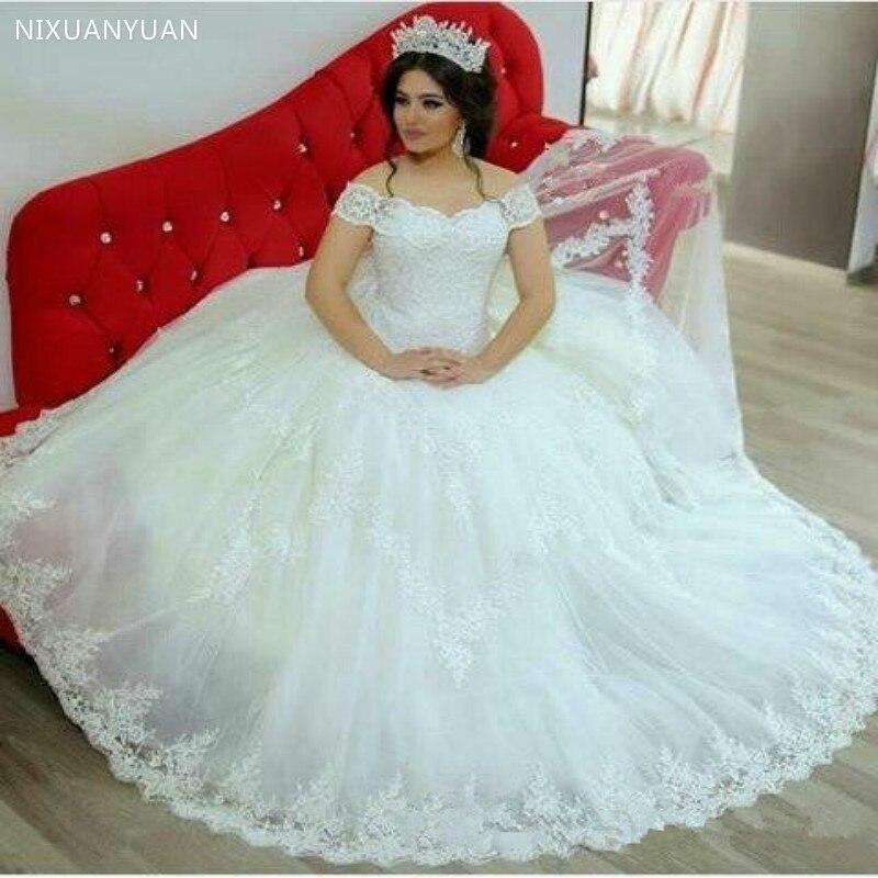 White Or Ivory Lace Wedding Dresses Ball Gown Vintage Off-Shoulder Bridal Wedding Gowns Plus Size Vestidos De Novia