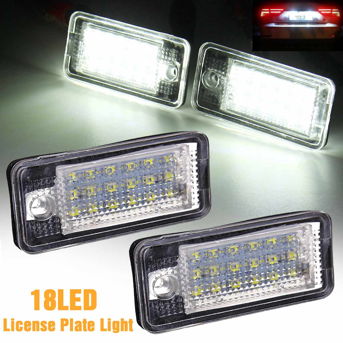 2X LED Number License Plate Light Lamp 8E0807430A 8E0807430B 8E0943021B 8E0943022B For Audi A4 S4 RS4 A3 S3 A6 C6 S6 RS6 A5