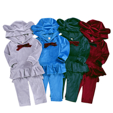 Toddler Girl Clothes Autumn Kids Velvet Sport Suits Children Clothing Sets T-shirt+Pants 2Pcs Girls Clothes Tracksuits for Girls недорого