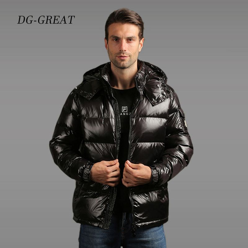 New   Down   Jackets Men Parka Winter Windproof Jackets Casual Thicked Warm Hooded Jacket   Down     Coat   Shiny Male Snow-wear   Down     Coat
