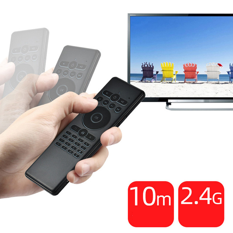T007 7 Colors Backlight Fly Air Mouse Mini Keyboard English Mic Voice IR Learning For Android Smart TV Box Remote Control