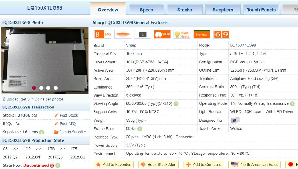 """Image 2 - Original LQ150X1LG98 15"""" 1024*768 LCD Screen DISPLAY PANEL-in LCD Modules from Electronic Components & Supplies"""