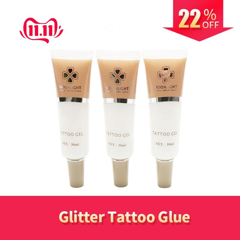 Free Shipping 2pcs White Color Glitter Glue Tattoo Gel (30ml/bottle) For Temporary Tattoo Kit Body Art Kit