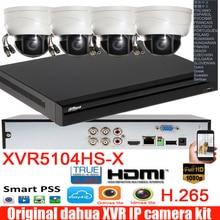 Mutil sprache Dahua neue H.265 XVR video recorder 4CH DH-XVR5104HS-X mit 4 stücke 2MP 4MP ptz CVI dome kamera system kit
