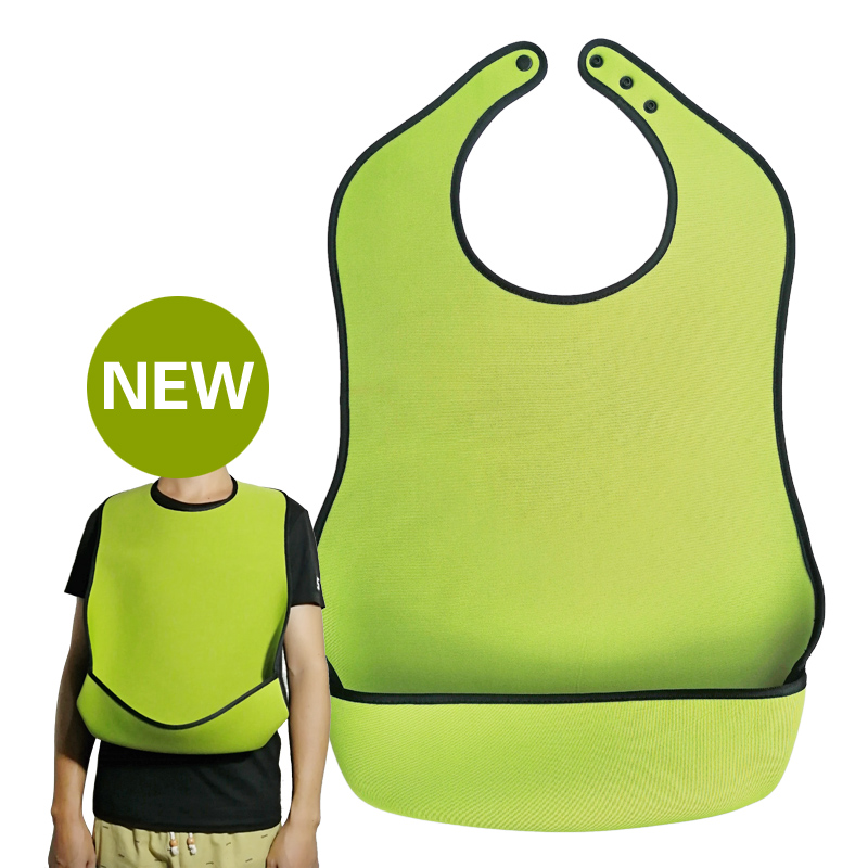 Adult Elderly Mealtime Bib Apron Diving Fabric Waterproof Anti-oil Reusable Alzheimer's Disease Brain Stalk Patient Dining Aid image