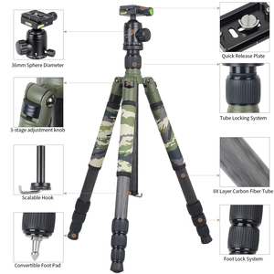 Image 3 - XILETU T284C+FB1 Professional Carbon Fiber Travel Tripod Green Camouflage Hidden Stand for DSLR Camera Outdoor Hunting Shooting