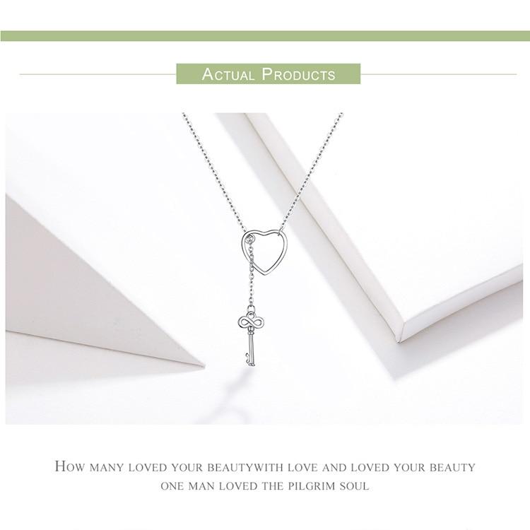 H4ac7d681477845cd84c301fb648ba7e2m BAMOER 925 Sterling Silver Sweet Key of Heart Lock Link Chain Necklaces & Pendants Women Luxury Sterling Silver Jewelry SCN107