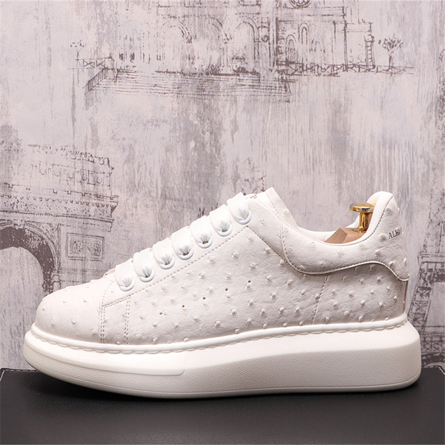 Ostrich-Zapatillas de cuero de lujo para Hombre, zapatos planos informales con plataforma creciente de altura, estilo Hip Hop 6