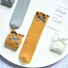Для новорожденных, для маленьких девочек хлопковые носки детские гольфы с бантом, длинные носки без пятки с рисунком лисицы, платье принцессы детские носки, calcetines