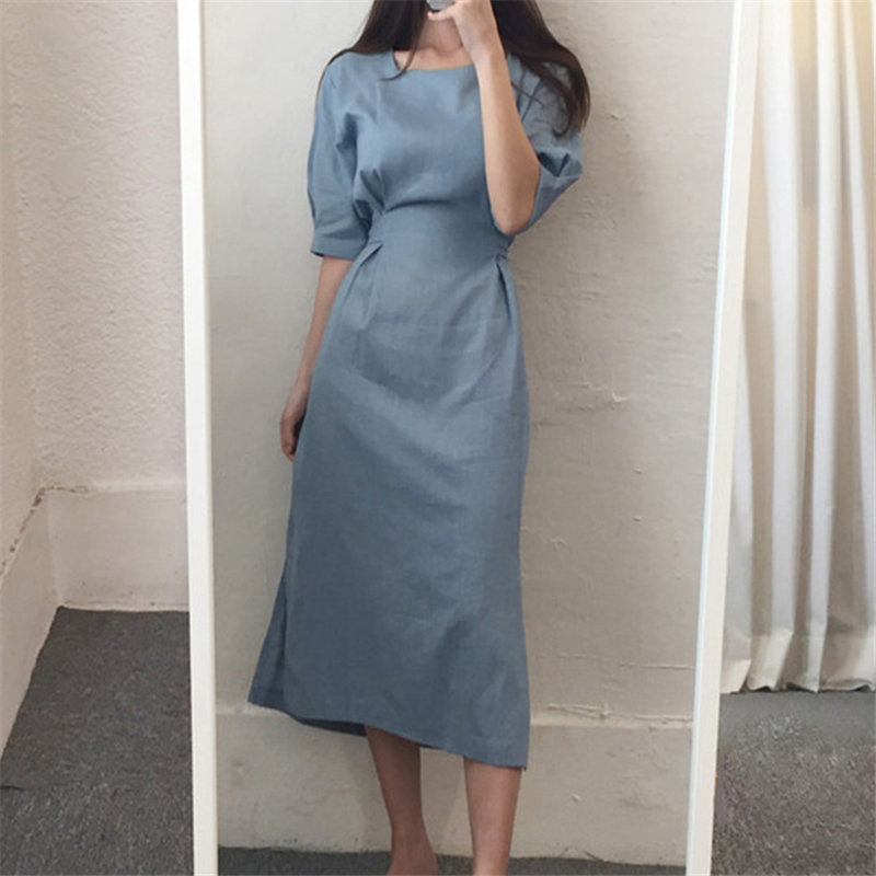 HziriP Office Lady Cotton Linen Retro 2020 Vintage New Women Elegant Chic Loose All Match Casual Solid Chic Leisure Long Dresses