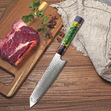 8 chef Knife Kitchen Knives-Set Damascus Steel VG10 Chef Knife Cleaver Paring Bread Knife Blue Resin and Color Wood Handle Cooki 6pcs stainless steel kitchen knife set bread knife meat fish cleaver knife chef knives set fruit vegetable knife