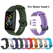 ซิลิโคนสำหรับ Huawei Honor Band 6สมาร์ทนาฬิกาเปลี่ยนสายรัดข้อมือสร้อยข้อมือกีฬาอุปกรณ์เสริมสำหรับ Honor Band 6