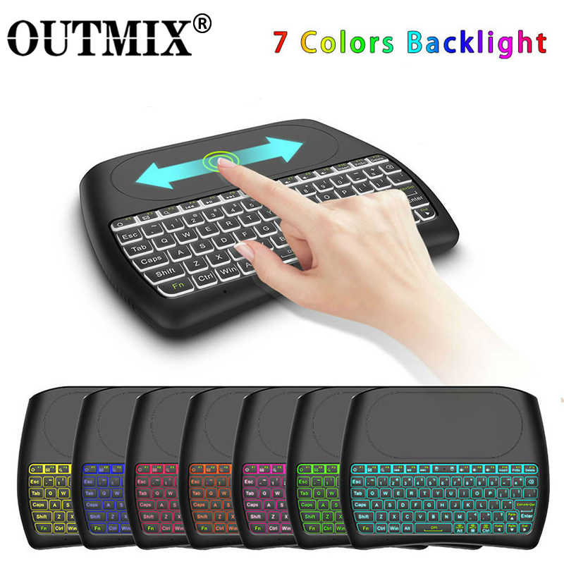 OUTMIX Retroilluminazione D8 Pro Plus I8 Inglese Russo 2.4GHz Mini Tastiera Wireless Air Mouse Touchpad Controller per Android TV BOX