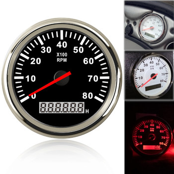 85mm Boat Tachometer 3000,4000,6000,8000 RPM Tachometer Car Marine Tacho Meter Gauge with Hourmeter 12V/24V toerenteller 1pc new type 0 8000rpm tachometer gauges modification 85mm lcd revolution meters 9 32v rev counters with hourmeter for auto boat