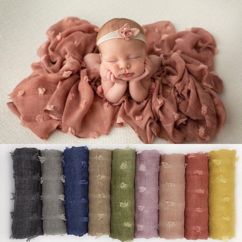 Newborn Photography Props Accessories Baby Photography Background Blanket 90cm*180cm Tie Dye Cotton Linen Baby Photo Props