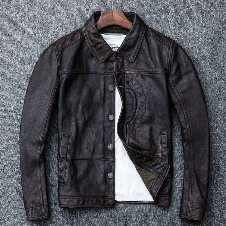 Free Shipping. New Style Mens Clothes,casual Vintage Leather Jacket,man Brown Genuine Leather Jacket.homme Slim,cool