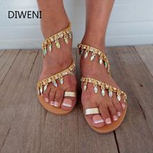 Women Sandals Bling Crystal Summer Shoes Woman Beach Flat Sandals Plus Size Flip Flop Ladies Soft Bottom Slippers Female women slippers summer women sandals metal button letter decoration flat beach shoes ladies sandals beach shoes casual flip flop