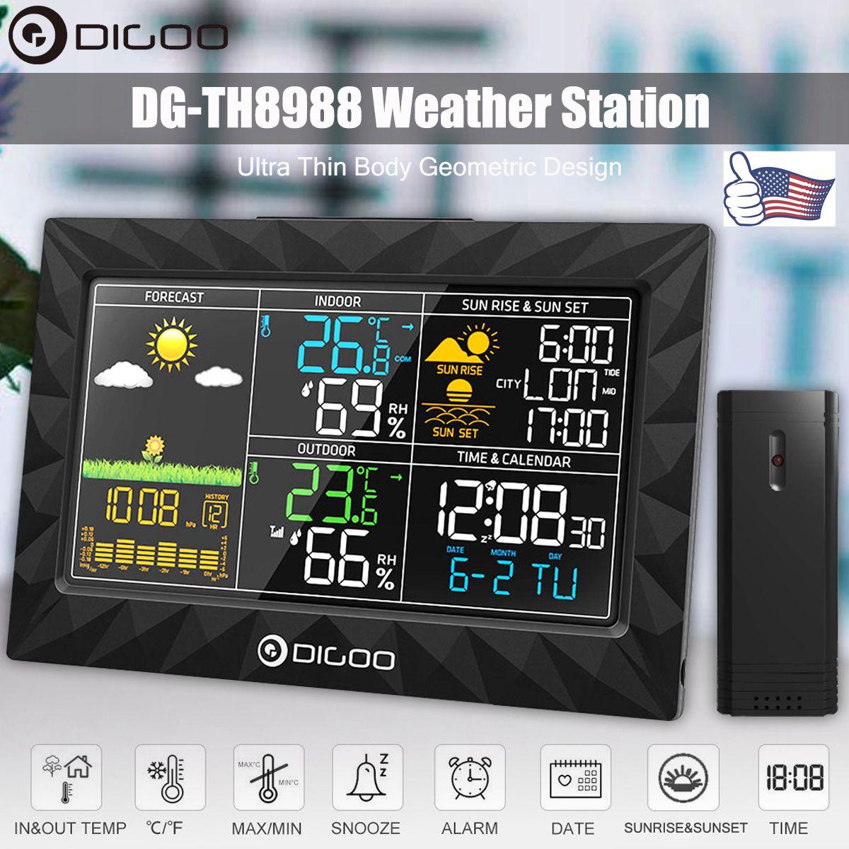 DIGOO DG TH8988 LCD couleur Station météo + extérieur capteur à distance thermomètre humidité Snooze horloge lever du soleil coucher du soleil calendrier | AliExpress