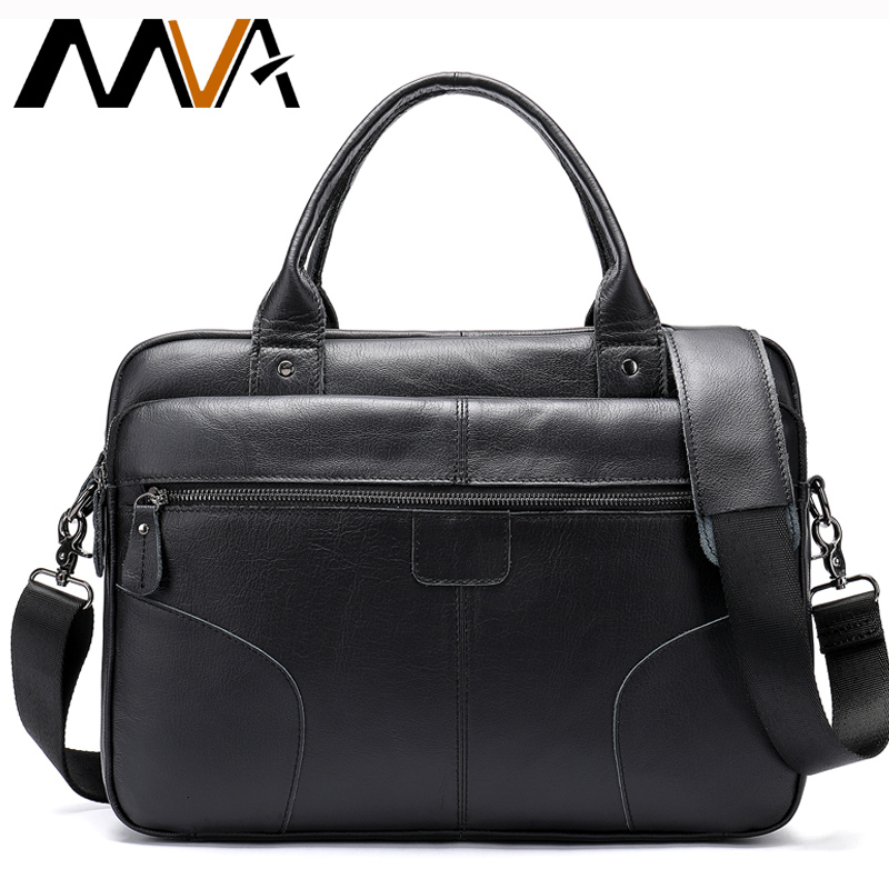 Mva Men's Bags Genuine Leather Briefcase Male Computer Bags For Mens Messenger Bag Men Laptop Briefcase Male Business Totes 8626