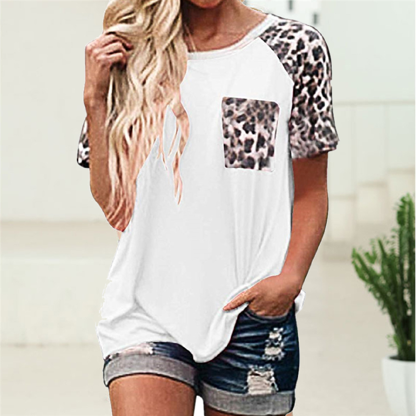 Leopard Pocket T-shirt Women 2020 New Tops Tee Fashion Summer Short Sleeve Tees Loose Soft Tee Shirts For Women Raglan Sleeve T