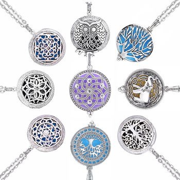 Chain Pads Round Viking Antique Vintage Aromatherapy Pendant Star Necklace Perfume Essential Oil Diffuser Locket Necklace