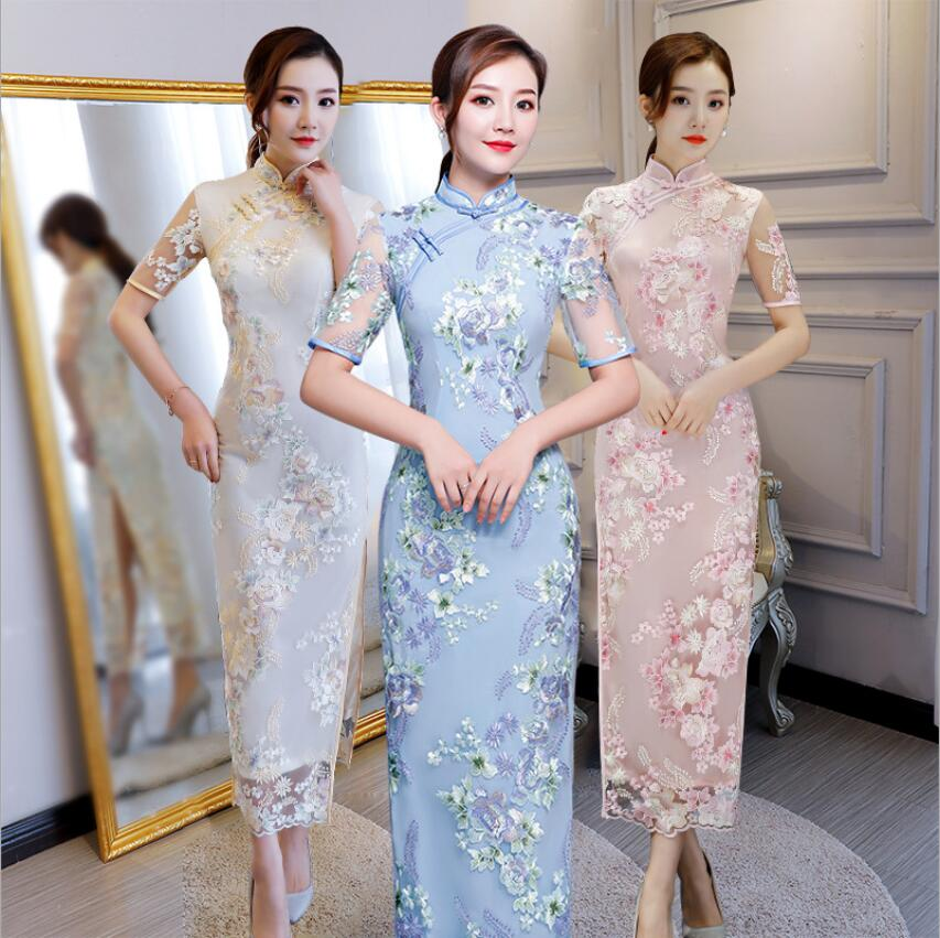 Chinese Style Long Cheongsam Fashion New Women's Lace Dress Elegant Slim Qipao Evening Party Dress