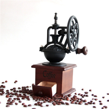 hand coffee beans grinder flour mill retro ground coffee beans manual coffee machine Vintage hand-cranked grinder, solid wood manual coffee grinder, ceramic core grinder, grind coffee beans