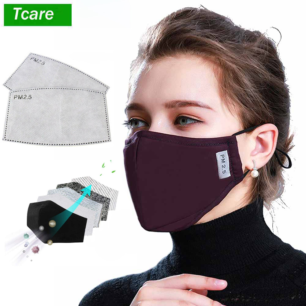 *Cotton PM2.5 Black Mouth MaskS Dust Mask Activated Carbon Filter Windproof Mouth-muffle Bacteria Proof Face Masks Care