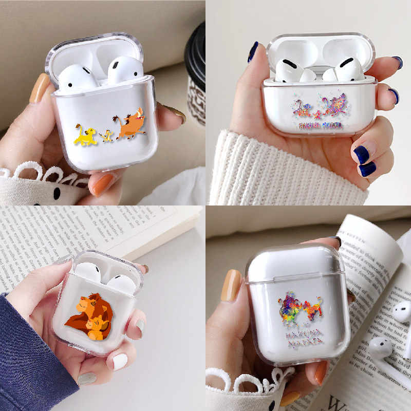 Cute Lion King Cartoon Earphone Case For Apple iPhone Charging Box For AirPods Pro Hard Clear Protective Cover Accessories