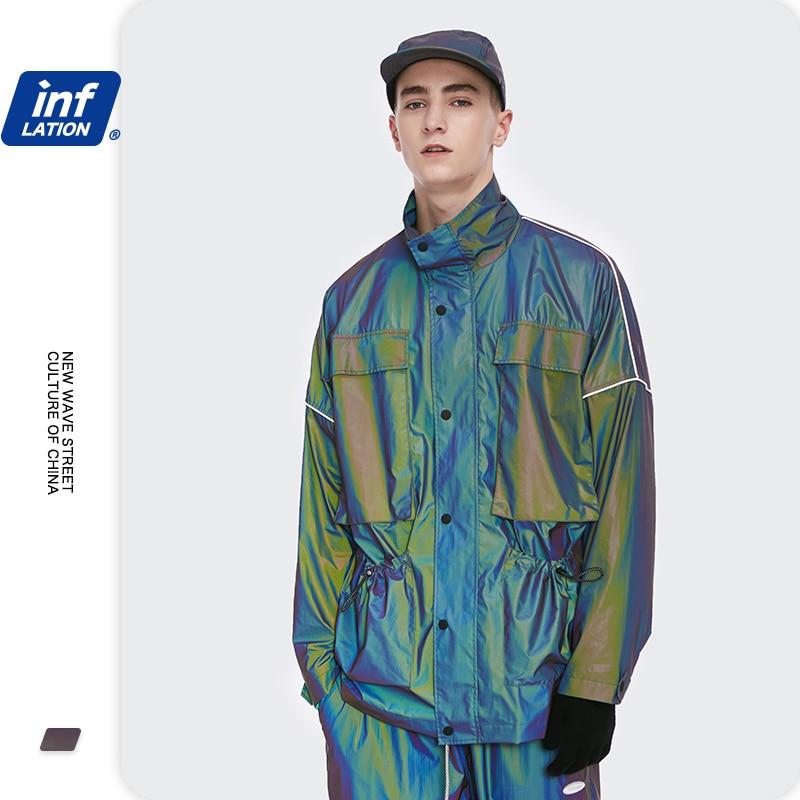 Conjunto de chaqueta rompevientos para hombre, chándal reflectante con láser de inflado, ropa de calle, chaqueta de Hip Hop y Joggers, conjunto de dos piezas|Conjuntos para hombres| - AliExpress